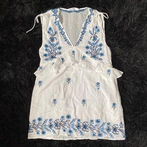 ZARA White Dress with Blue Embroidery